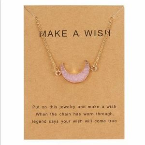 Jewelry - Make A Wish Crescent Moon Druzy Necklace Pink